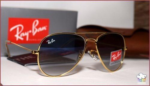 c6ec7ba46 Óculos Aviador Grande Rb3026 Dourado Lente Azul Degradê - R$ 303,57 ...