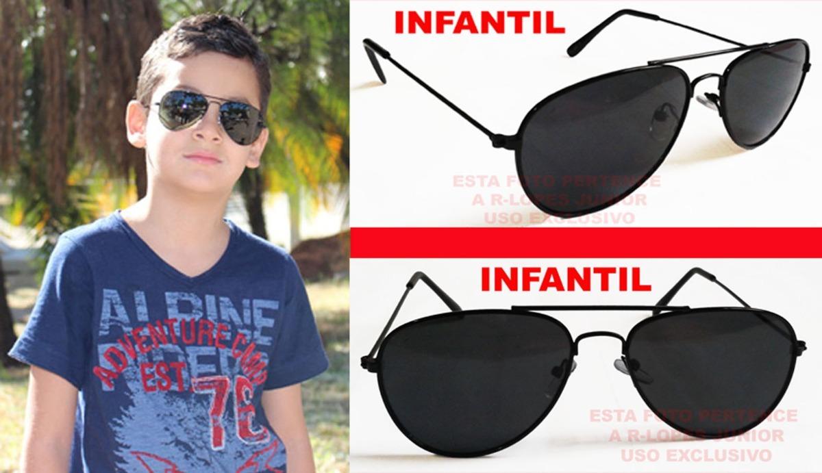 Oculos Aviador Infantil Preto Lente Preta Uv a400 - R  35,00 em ... f200cae40b