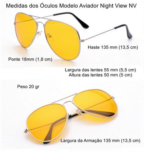 eef5b7b94ccc6 Óculos Aviador Lente Amarela Visão Noturna Proteção Uva Uvb - R  26 ...