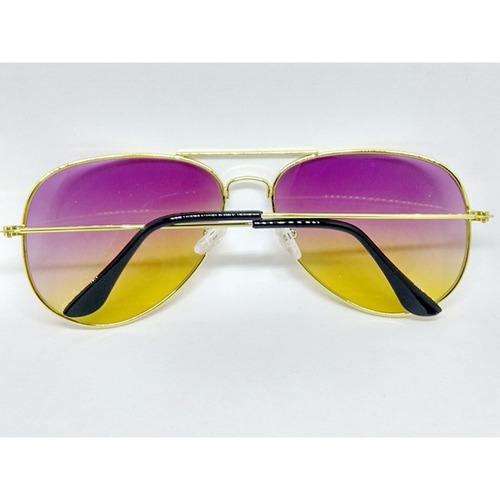 352a50440fc02 Óculos Aviador Lente Colorida Degrade Roxo Amarelo - R  54,99 em ...