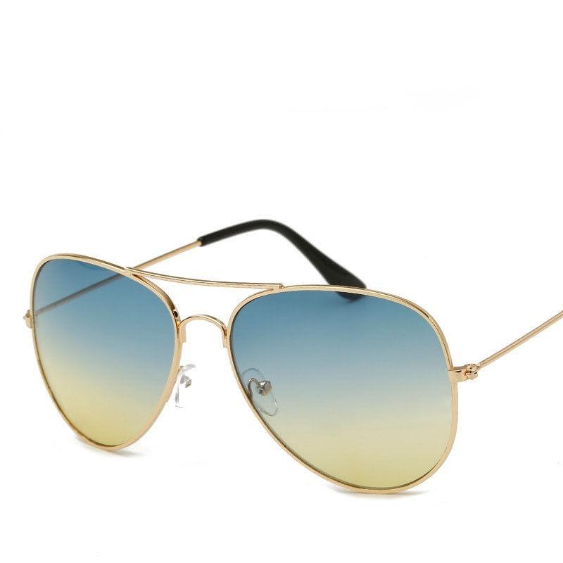 25cc348f5d4d4 óculos aviador retrô classic azul c  amarelo unissex top. Carregando zoom.