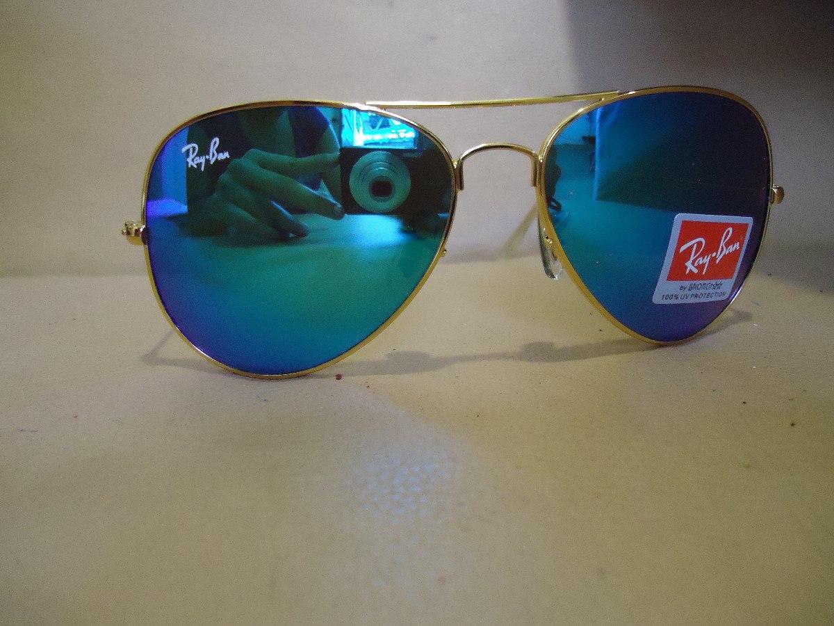 22b4d436250e5 óculos aviator 3025 dourado lente azul espelhado cristal. Carregando zoom.