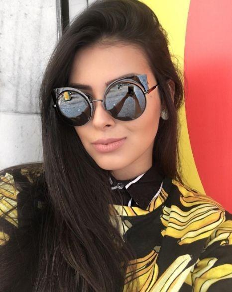 Óculos Blogueira Solar Escuro Espelhado Redondo Gatinho Luxo - R  39 ... bf3516da04