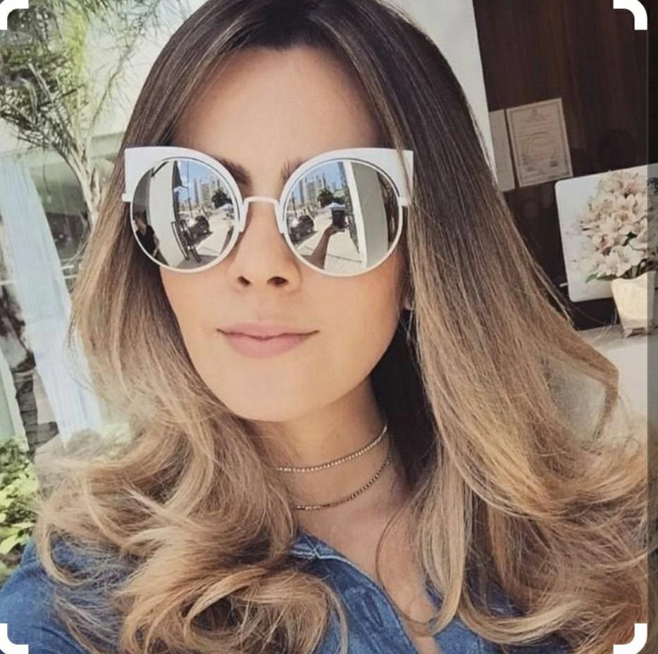 óculos blogueira solar escuro espelhado redondo gatinho luxo. Carregando  zoom. c628752c37