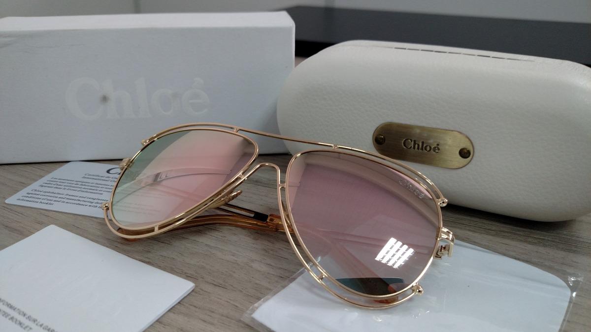 ea860cc6b717b óculos chloé isidora aviador - lançamento - importado rosé. Carregando zoom.