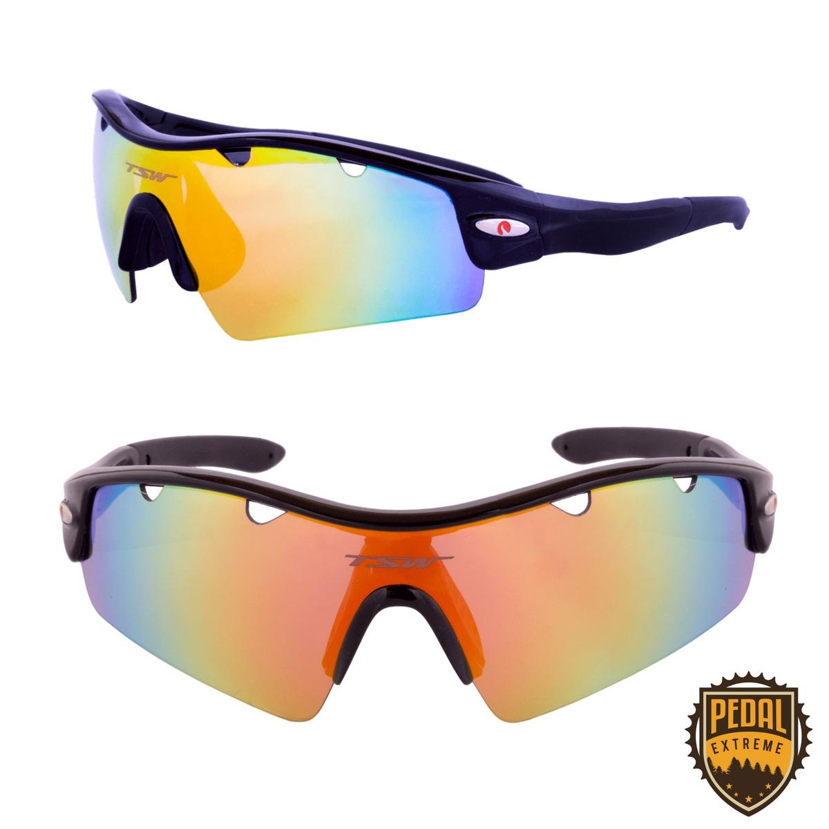 60eb75786b0cd Óculos Ciclismo Bike Polarizado Lente Extra Tsw Alux Preto - R  149 ...