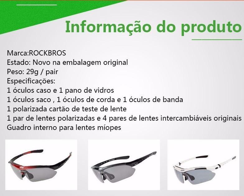 Óculos Ciclismo Rockbross Polarizado - P. Ent. - 5 Lentes - R  120 ... c832dcb1ec