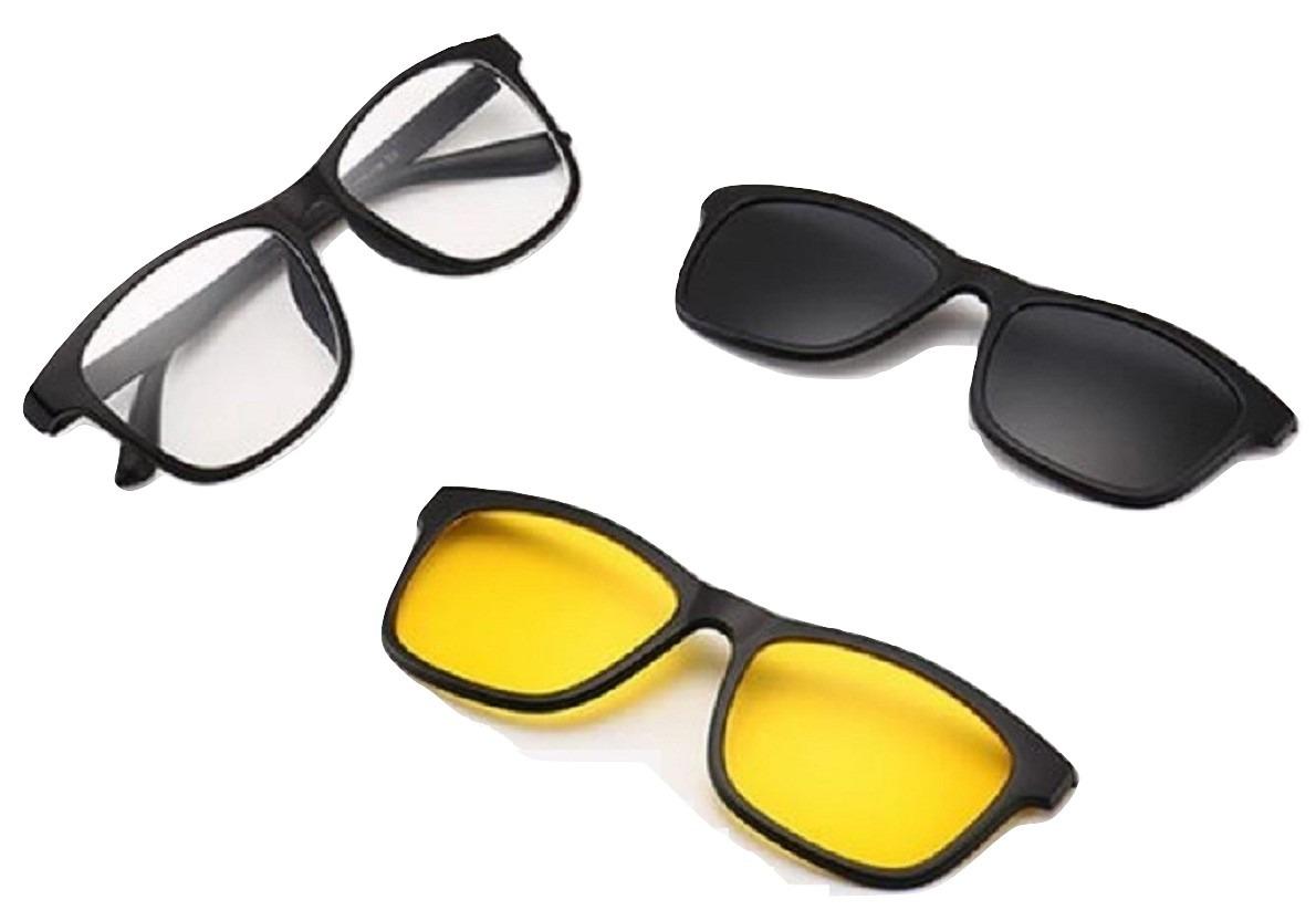 05200cbdc óculos clip on polarizado armação 3 em 1 dia e noite uv400. Carregando zoom.