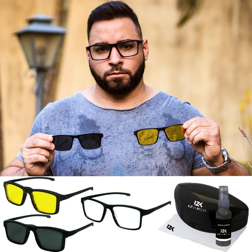 6b7a1d949 óculos clipon clip on armação 3 lentes sem grau original. Carregando zoom.
