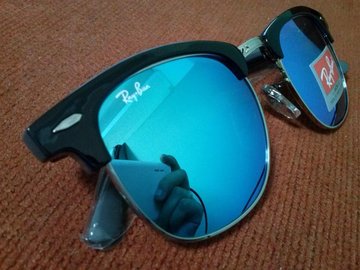 4d05028eb óculos clubmaster 3016 preto lentes azul claro espelhado. Carregando zoom.