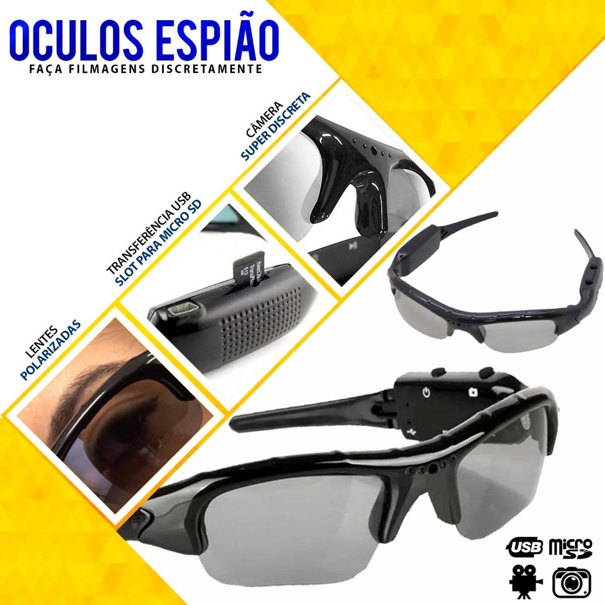 102bdbbe8 Óculos Câmera Espiã Espião Filma Hd Discreto Detetive - R$ 79,99 em ...