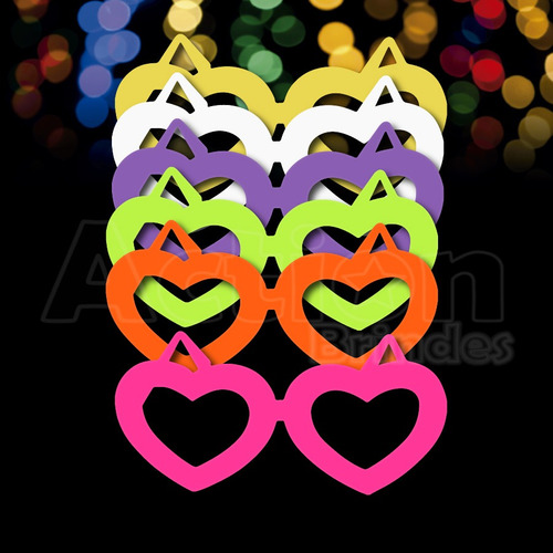 óculos coração colorido - kit 10 unidades