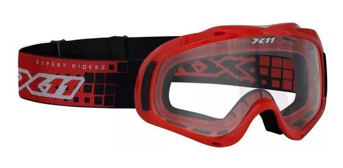 oculos cross trilha enduro quadriclo x11 mx 2 preto vermelho