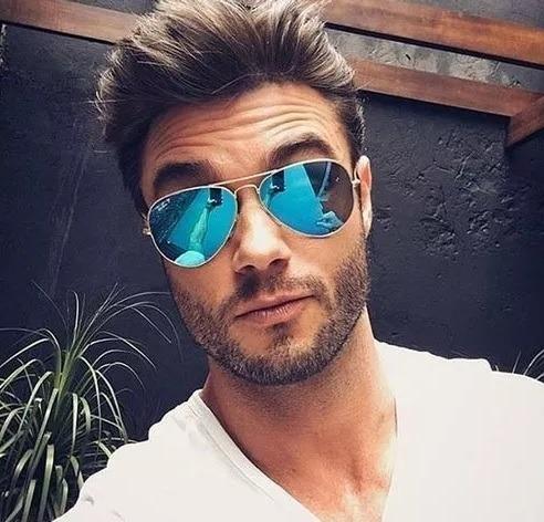 dee46b879 Óculos Da Moda Masculino Importado Famoso Espelhado Azul - R$ 79,76 ...