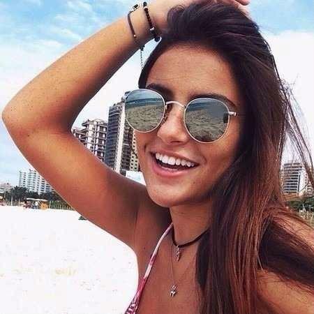 889adee53 Óculos Da Moda Redondo Para Mulher Luxo Lente Colorida Praia - R$ 39 ...