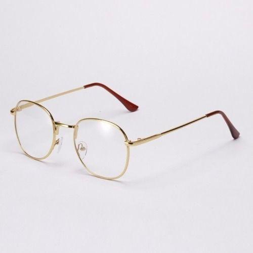 4e4ab283847ba Óculos De Armação De Metal Unissex Preto
