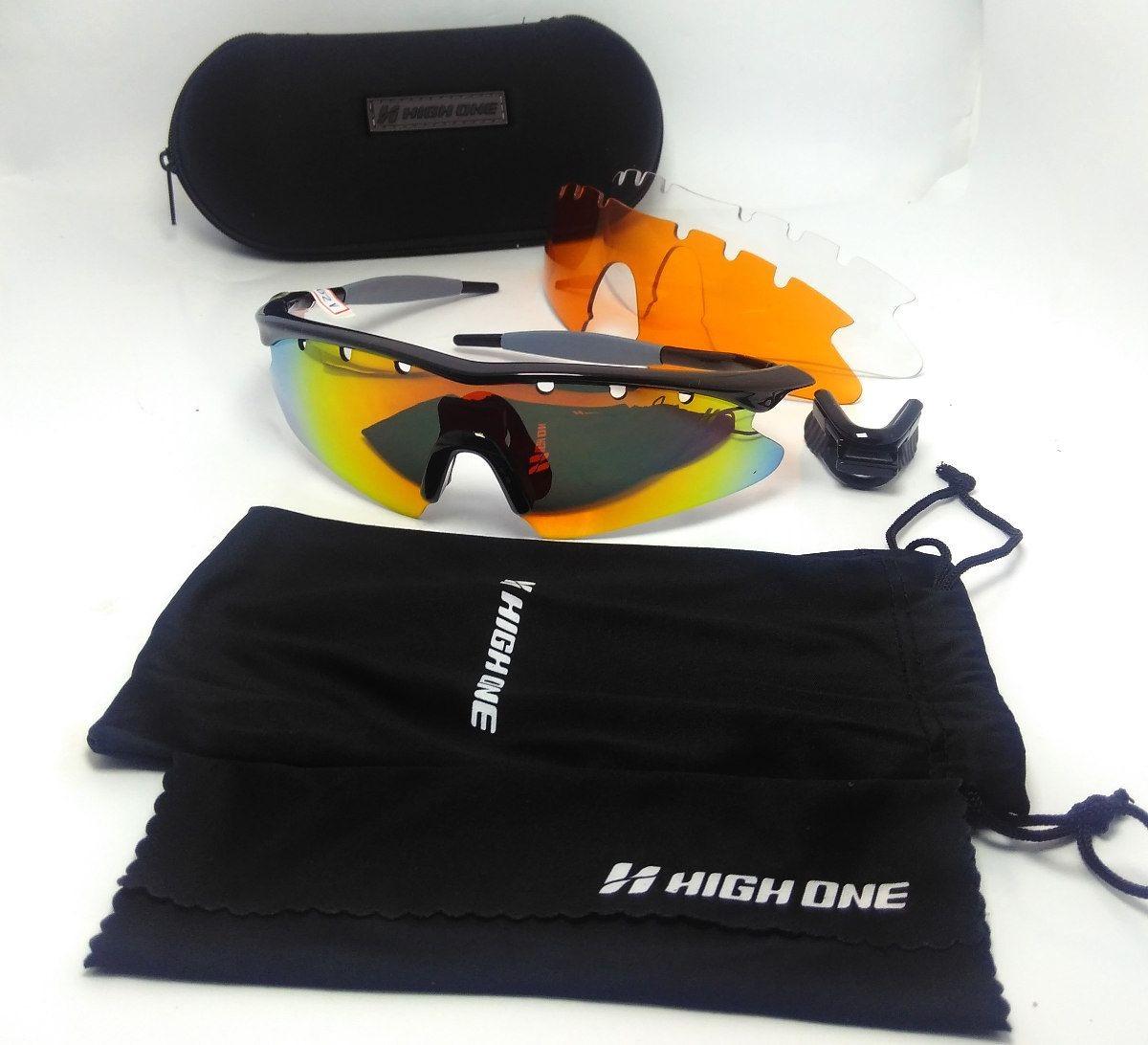 350c89aefbd8f óculos de ciclismo high one fusion c  3 lentes + case. Carregando zoom.