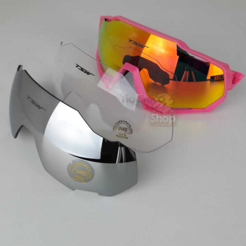 óculos de ciclismo mtb c 3 lentes e proteção uv400 tsw cross. Carregando  zoom. 30d37d5894