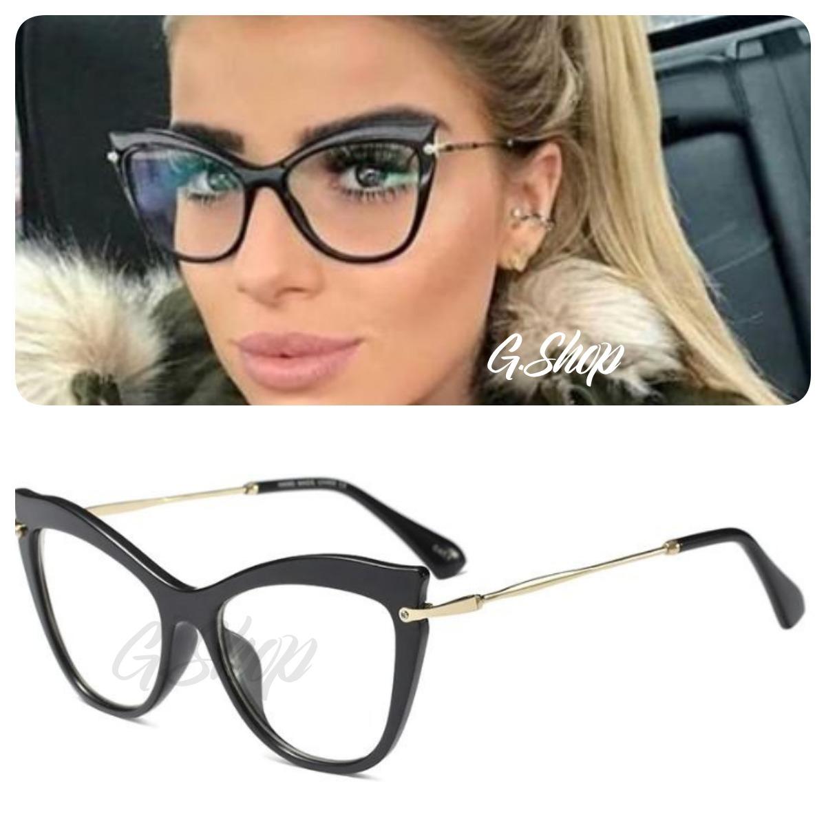 7ac558e70 Óculos De Grau Armação Preto Gatinho Preto Estilo Blogueira - R$ 79 ...
