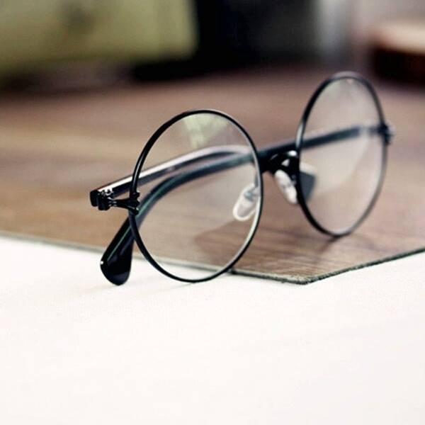 06d33fa55fe2f Óculos De Grau - Armação Redondo Retro - Preto - R  34