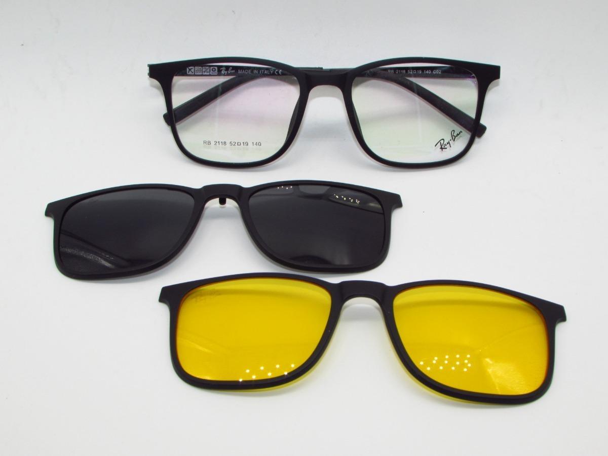 01e10ebbdbe40 Óculos De Grau Clip On Rayban Rb2118 Importado Original - R  130,00 ...
