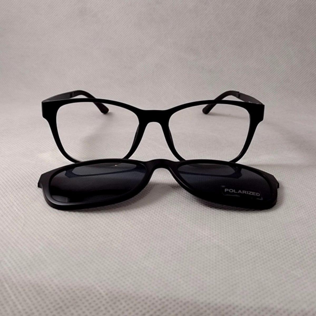 11a4000e3 óculos de grau estilo chilli beans redondo clipon 2x1 preto. Carregando zoom .