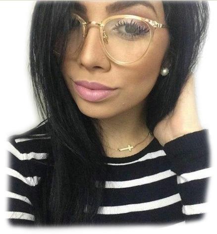 6865368a18e78 Óculos De Grau Feminino Armação Em Acetato Geek Vintage Gato - R  38 ...