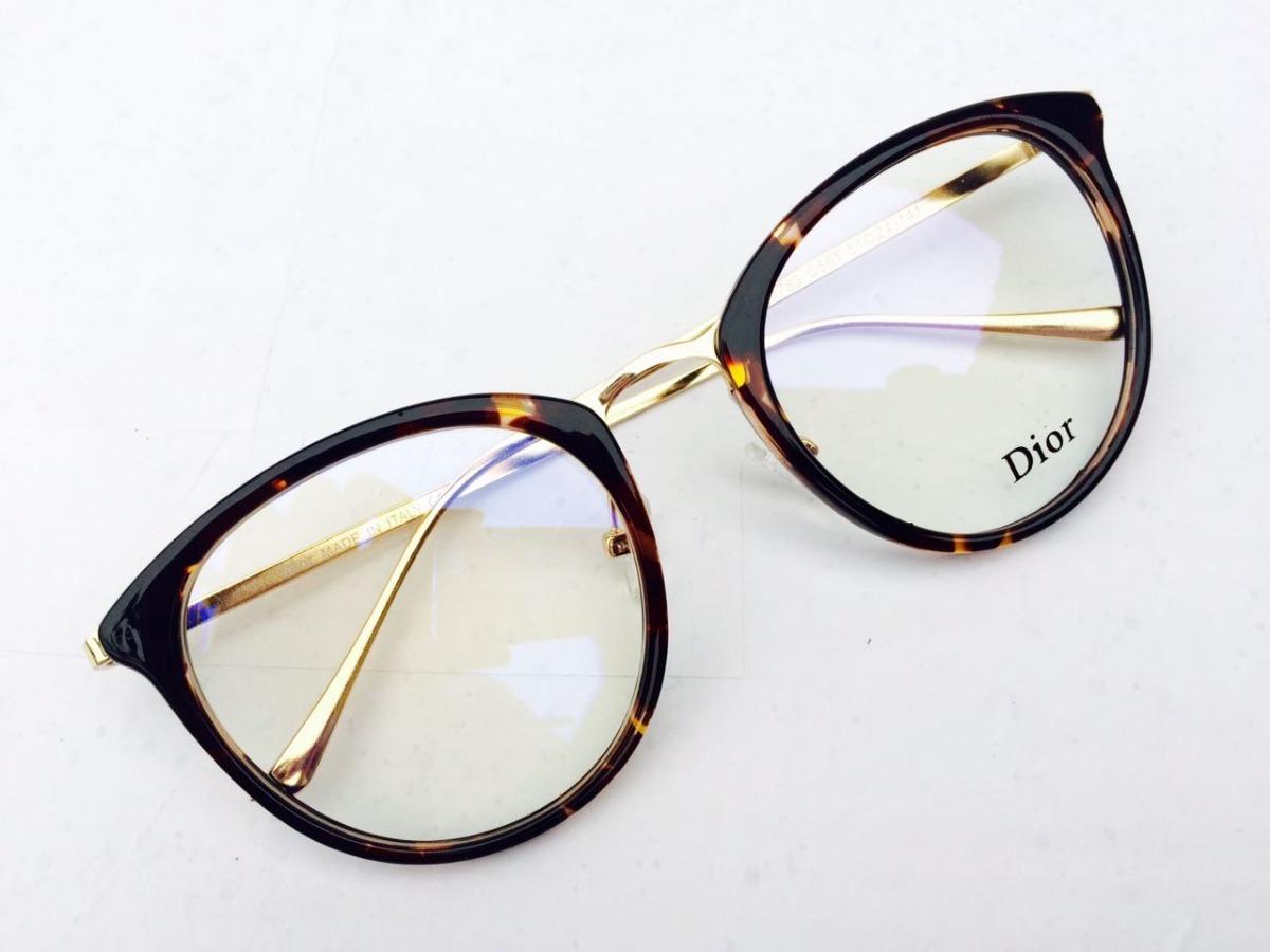 óculos de grau feminino armação nova onça com dourado -di701. Carregando  zoom. c9d3cb4145