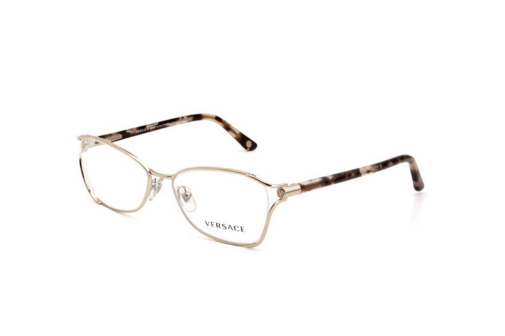 0df9ab0b1 óculos de grau feminino versace metal mesclado dourado. Carregando zoom.