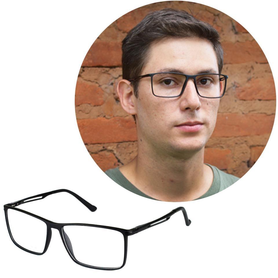 321d46316 Óculos De Grau Masculino Quadrado Preto 17004 - R$ 170,00 em Mercado ...