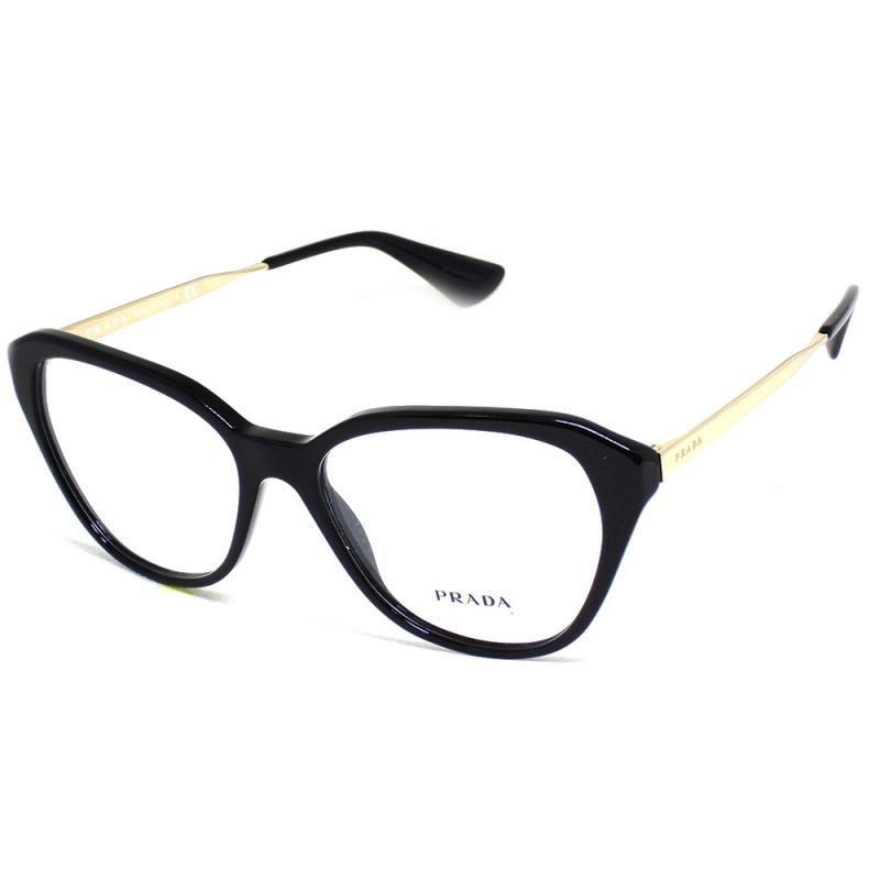 ... óculos de grau prada 28s t 54 c feminino preto e dourado. Carregando  zoom. 1361bf4f22