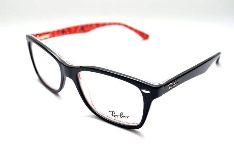 302cf7f749a44 óculos de grau ray ban rb5228 acetato preto interno vermelho. Carregando  zoom.