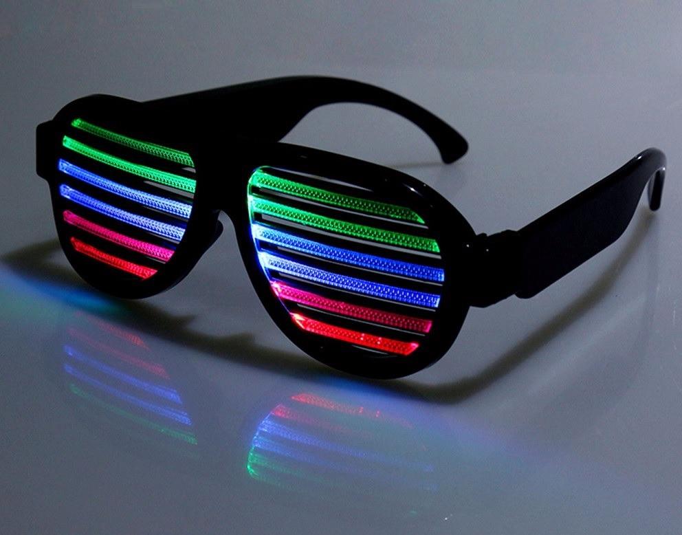 721e0af4b Óculos De Led Colorido Rave Festas Carrega Usb Ativa Por Som - R$ 77 ...