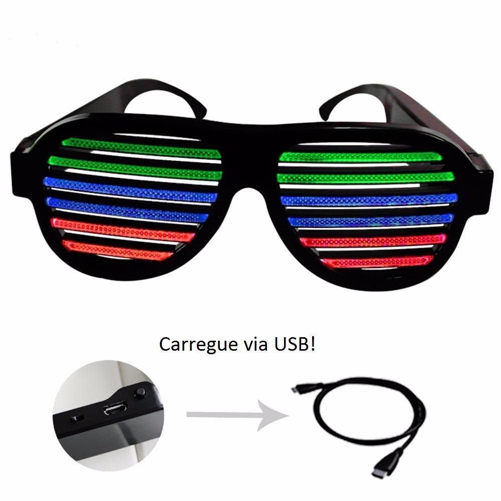 44d2a2a47a1ee Óculos De Led Colorido Rave Festas Carrega Usb Ativa Por Som - R  77 ...