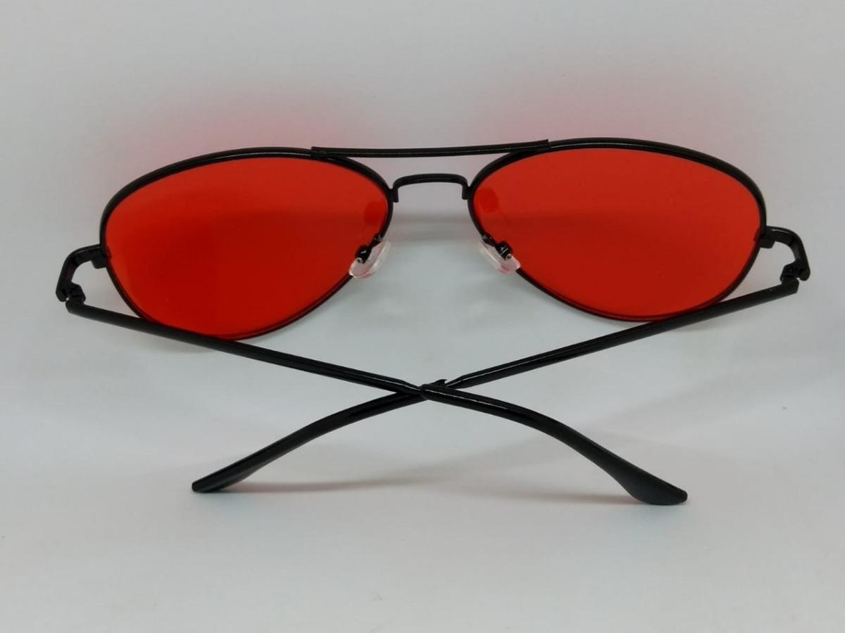 f72d49ce4 Óculos De Lente Colorida Vermelha Aviador Com Armação Preta - R$ 49 ...