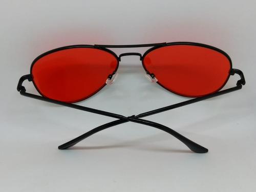 b7b375e3c5355 Óculos De Lente Colorida Vermelha Aviador Com Armação Preta - R  65 ...