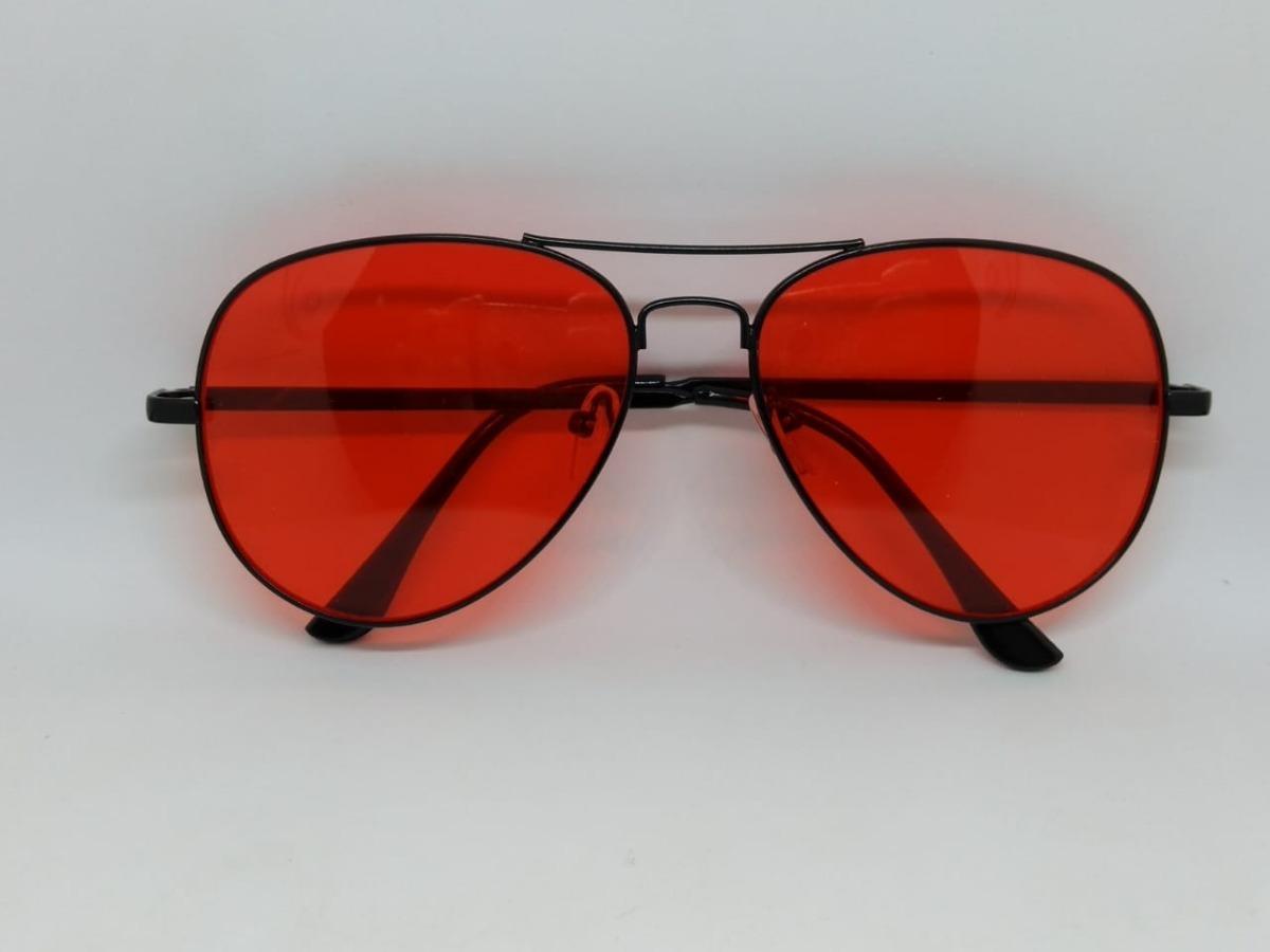 Óculos De Lente Colorida Vermelha Aviador Com Armação Preta - R  49 ... d02981fdd0