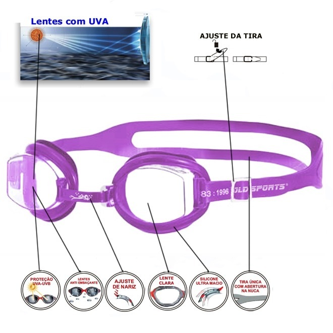 704c8f8bccc70 Óculos De Natação Infantil Jr Splash Gold Sports - R  34,90 em ...