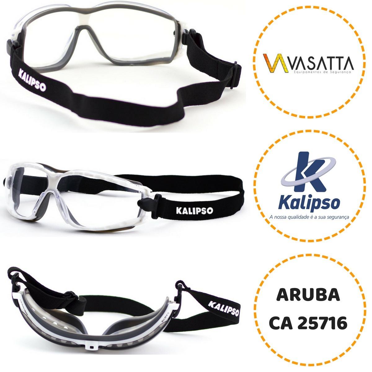 3b76bf02cae47 oculos de proteção com elástico aruba kalipso caixa com 12. Carregando zoom.