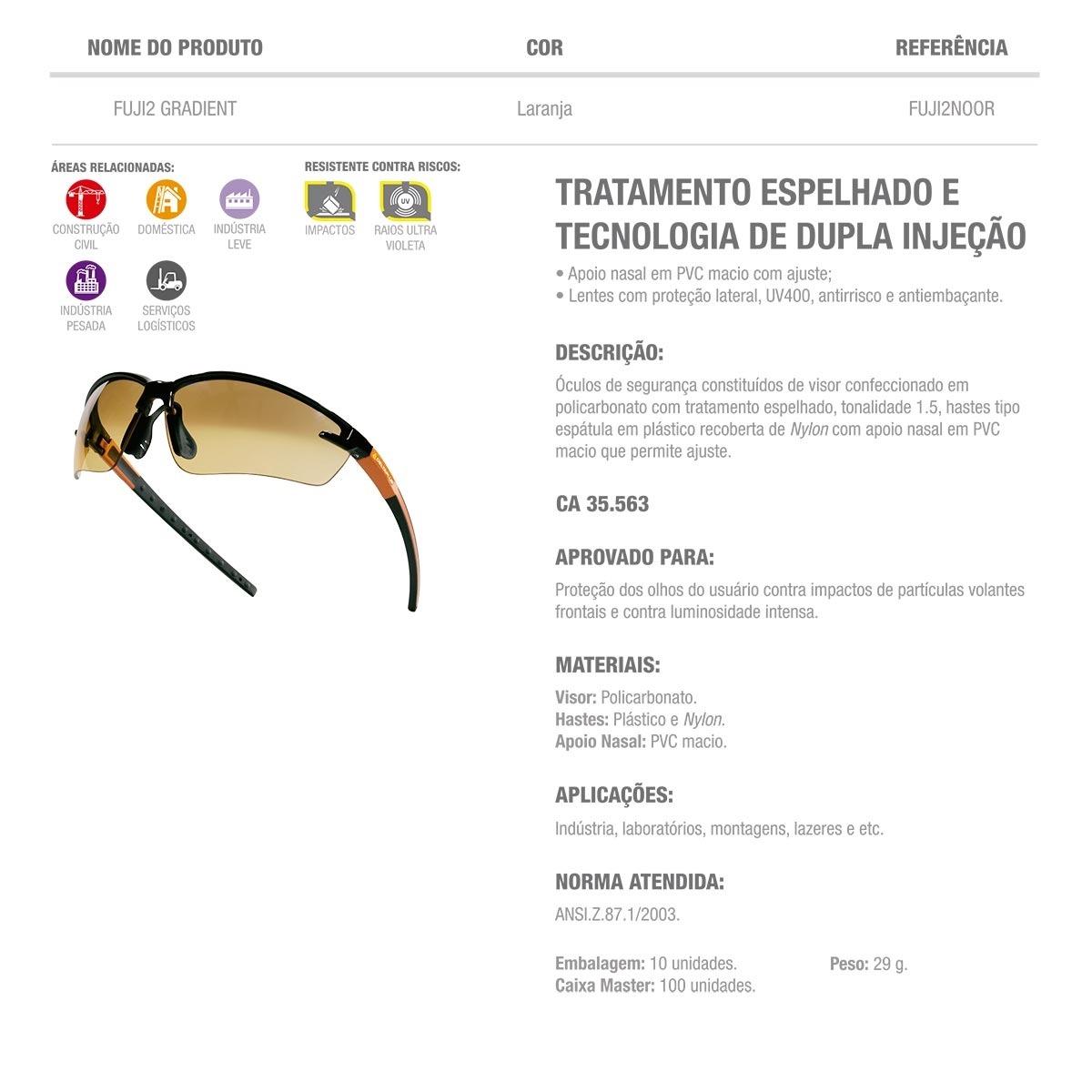 f9486f0ac41d9 Óculos De Proteção Delta Plus Fuji 2 Gradient - Ca 35.563 - R  63,77 ...