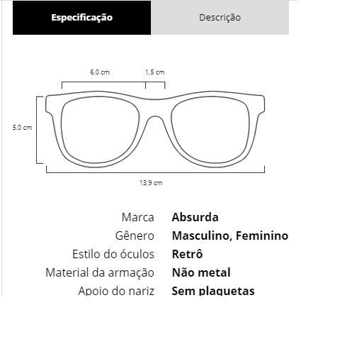 Oculos De Sol Absurda Calixto - R  119,90 em Mercado Livre 9a73d028ab