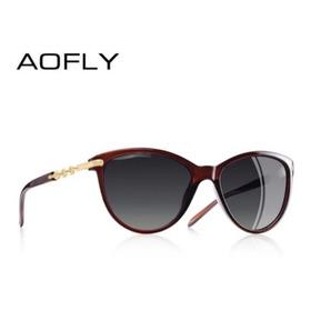 Óculos De Sol Aoflay Olhos De Gato Feminino Polarizado Proteção Uv400