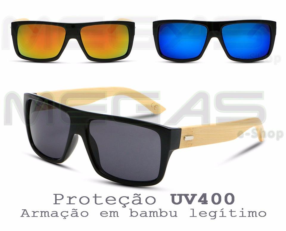 2e03ee3257666 Óculos De Sol Armação De Bambu Masculino Com Proteção Uv400 - R  68 ...