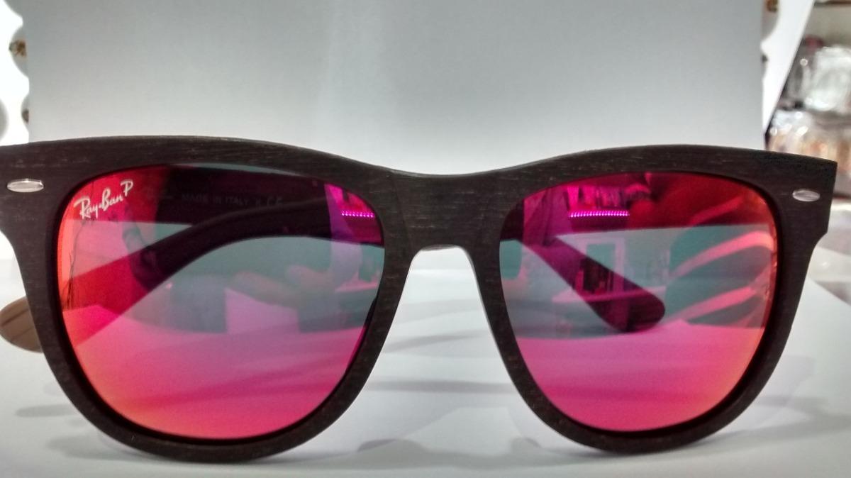bee0eadc10838 óculos de sol armação madeira lente vermelha espelhada. Carregando zoom.