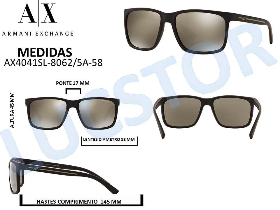 8e6e5a980 Oculos De Sol Armani Exchange Ax4041sl 8062/5a-58 Masculino - R$ 298 ...