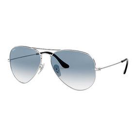 Oculos De Sol Aviador 3025 3026 Prata Azul Degrade