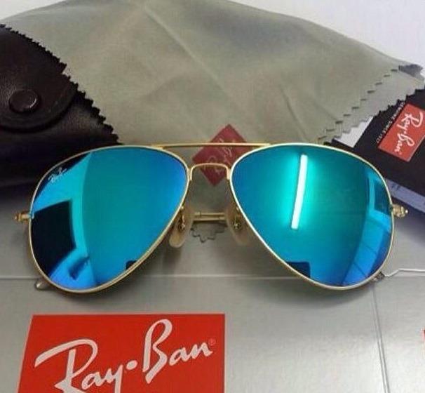 Óculos De Sol Aviador 3025 Azul Espelhado Feminino Masculino - R ... 49a5e187b6