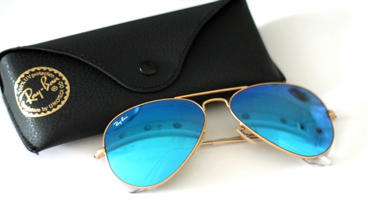 7954494fb4803 Oculos De Sol Aviador Azul Claro Espelhado Feminino Masculin - R  79,00 em  Mercado Livre