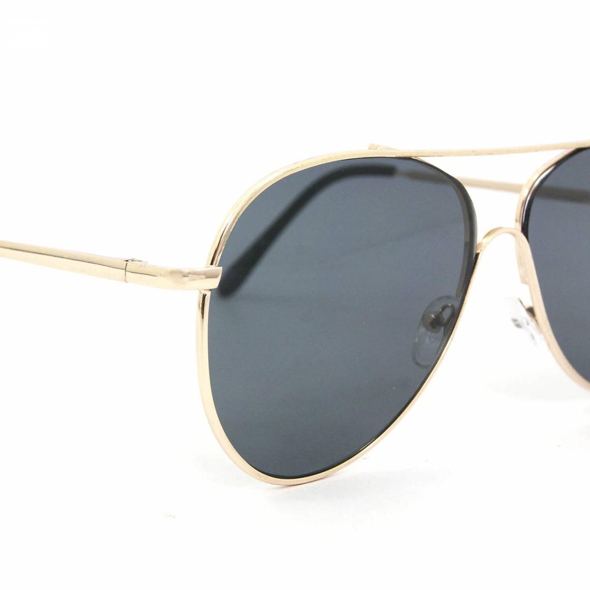 bba9a3ff39902 Óculos De Sol Aviador Dourado Com Lente Preta - R  114,17 em Mercado ...