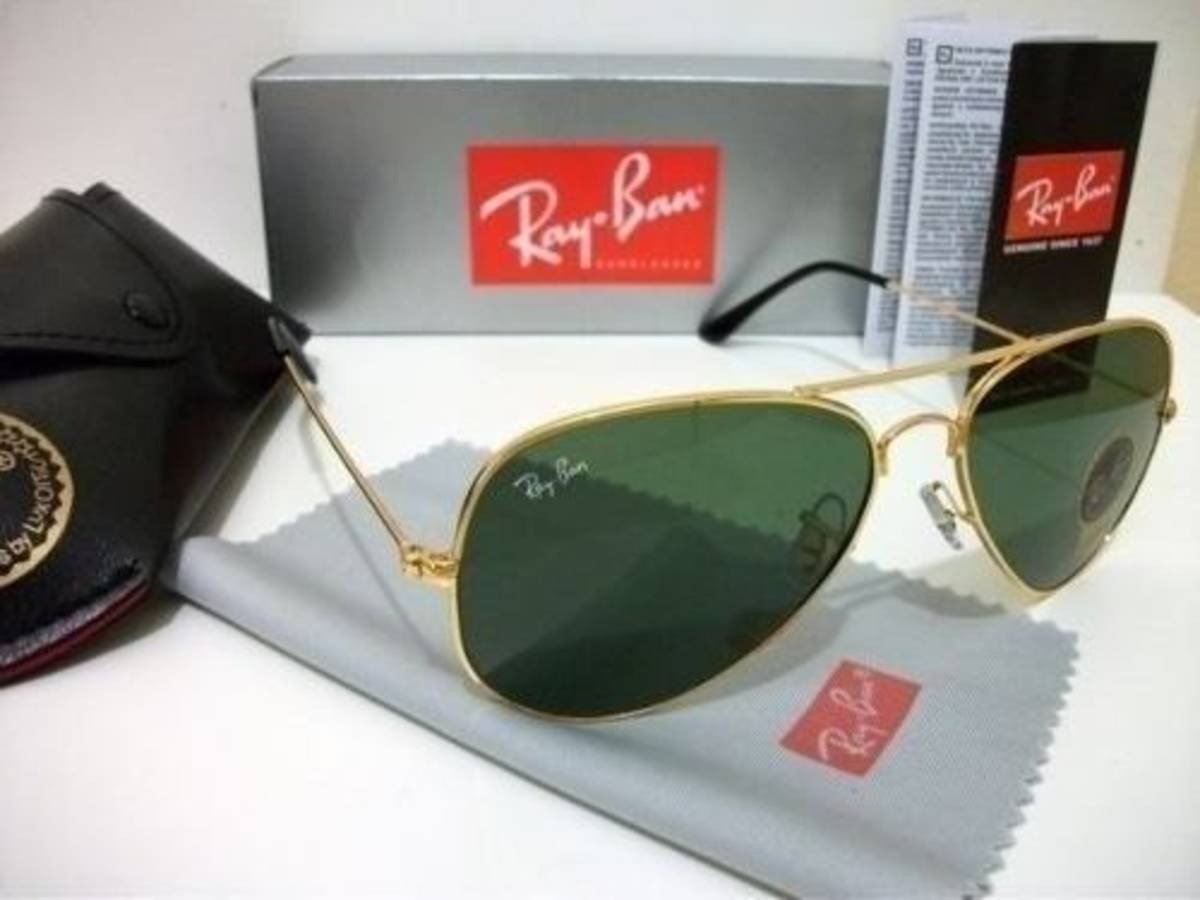 6b19e060bf71d óculos de sol aviador dourado lente verde crista 15 cores. Carregando zoom.